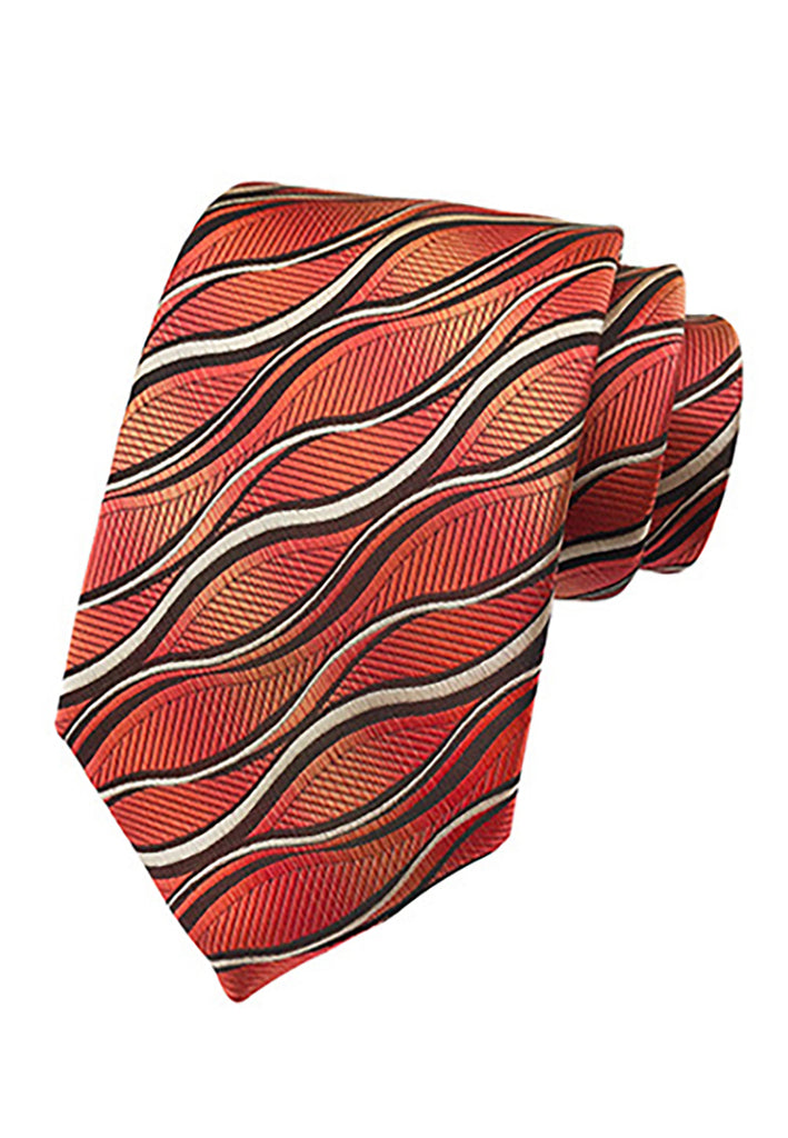 Medley Series Wavy Design Red Neck Tie