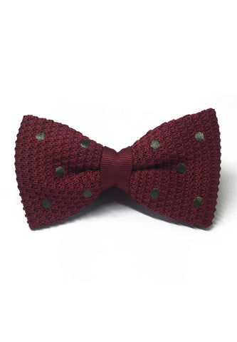 Webbed Series Dark Green Polka Dots Maroon Red Knitted Bow Tie