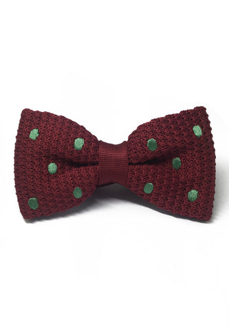 Webbed Series Light Green Polka Dots Maroon Red Knitted Bow Tie