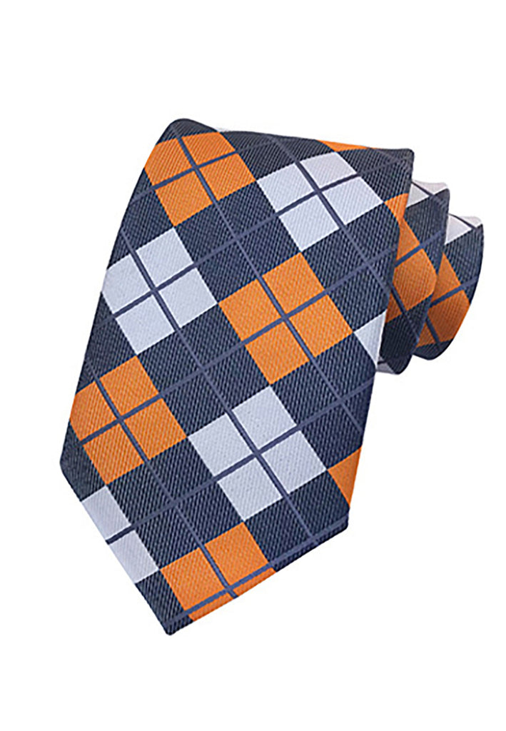 Medley Series Checked Design Blue, Orange and White Neck Tie