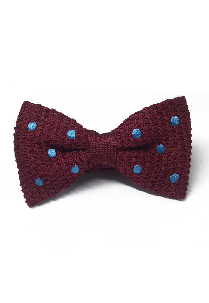 Webbed Series Baby Blue Polka Dots Maroon Red Knitted Bow Tie