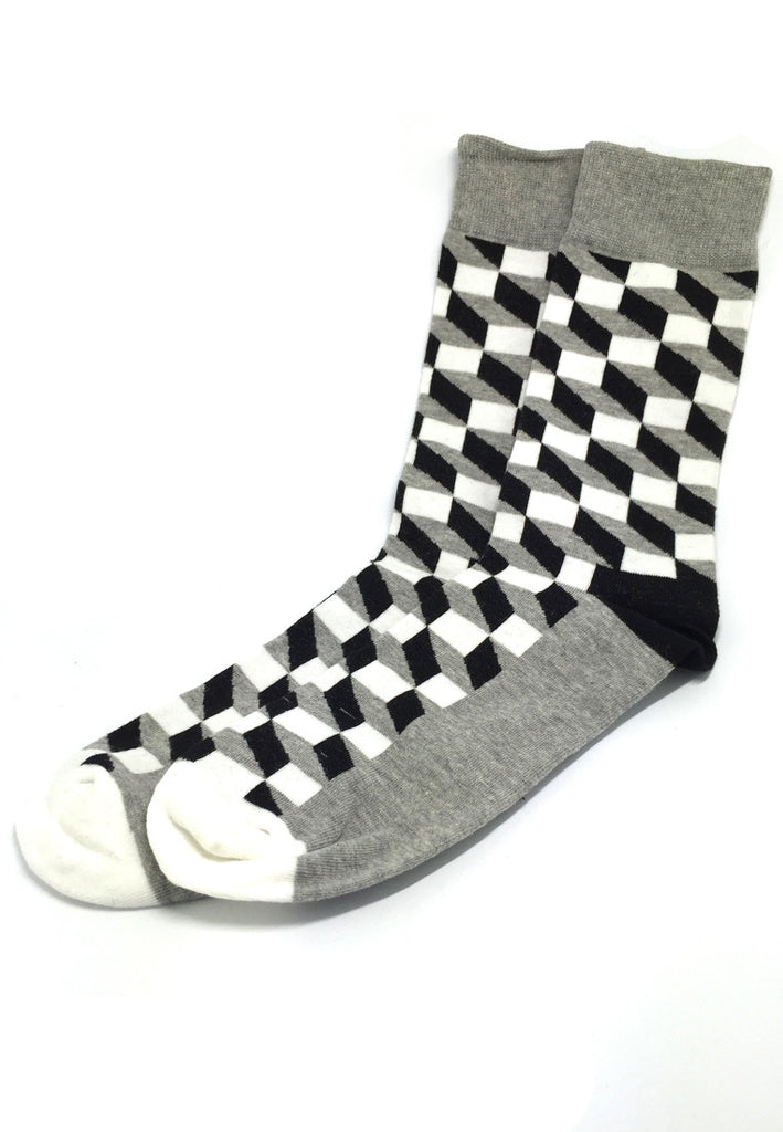 Zig Zag Series Multi Colour Swirl Design Grey, Black and White Socks