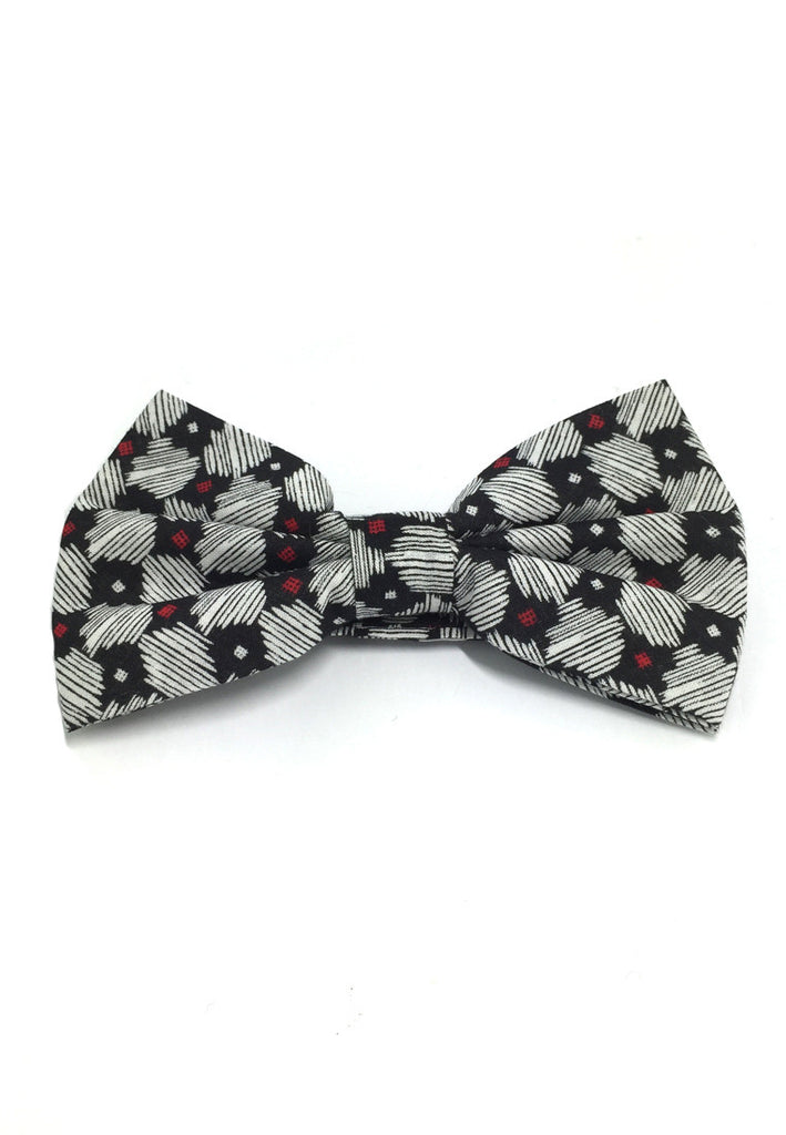 Blooming Series Black Red and White Patterned Design Cotton Pre-tied Bow Tie