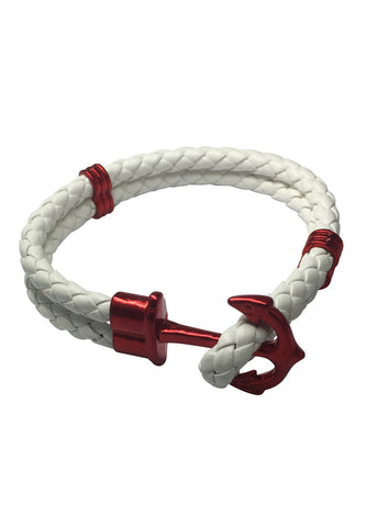 Grapple Series White PU Leather Dark Red Anchor Bracelet