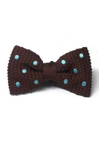 Webbed Series Baby Blue Polka Dots Brown Knitted Bow Tie