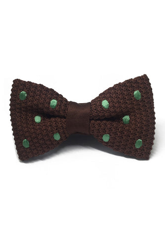 Webbed Series Green Polka Dots Brown Knitted Bow Tie