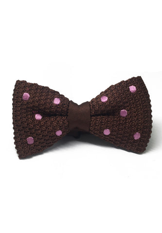 Webbed Series Baby Pink Polka Dots Brown Knitted Bow Tie
