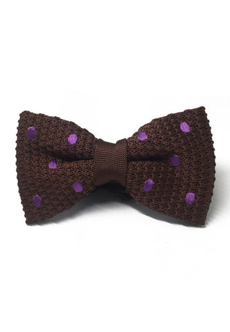 Webbed Series Purple Polka Dots Brown Knitted Bow Tie