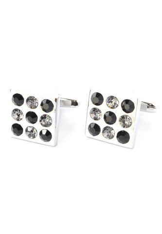 Black & White Crystals Square Cufflinks
