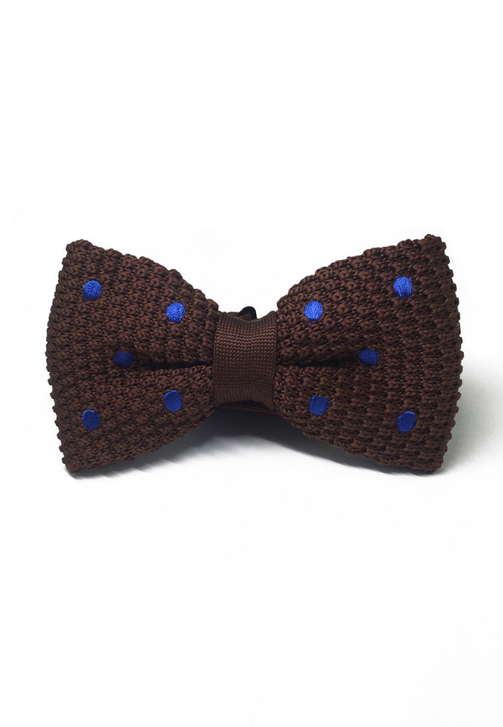 Webbed Series Blue Polka Dots Brown Knitted Bow Tie