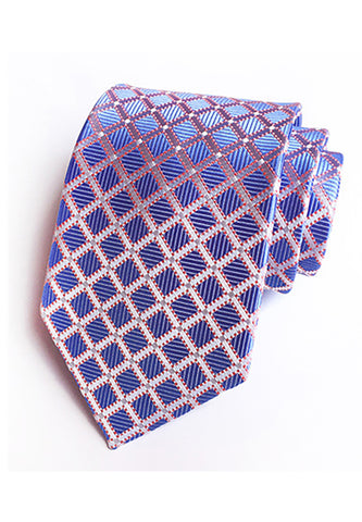 Checky Series Purple Blue Neck Tie