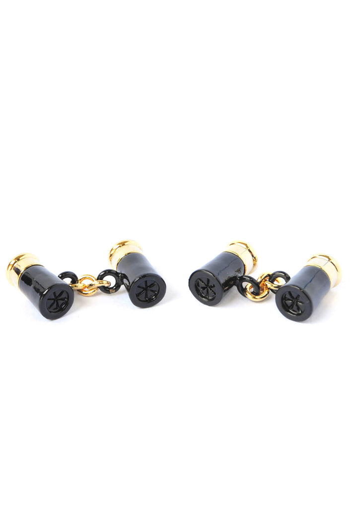 Gold & Black Shotgun Cartridge Cufflinks
