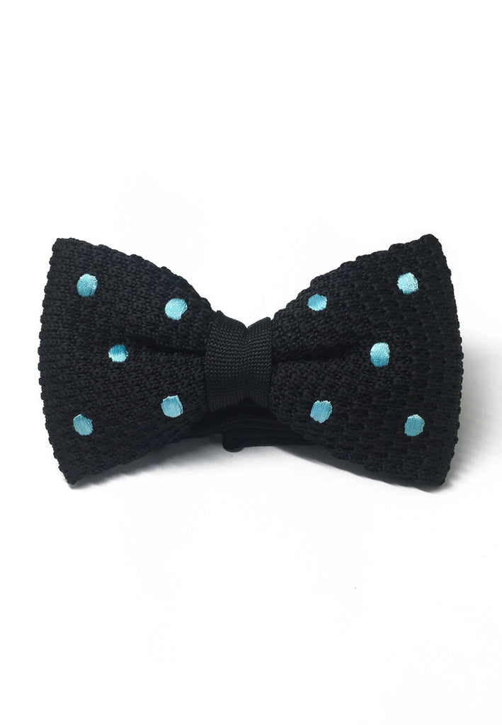 Webbed Series Baby Blue Polka Dots Black Knitted Bow Tie