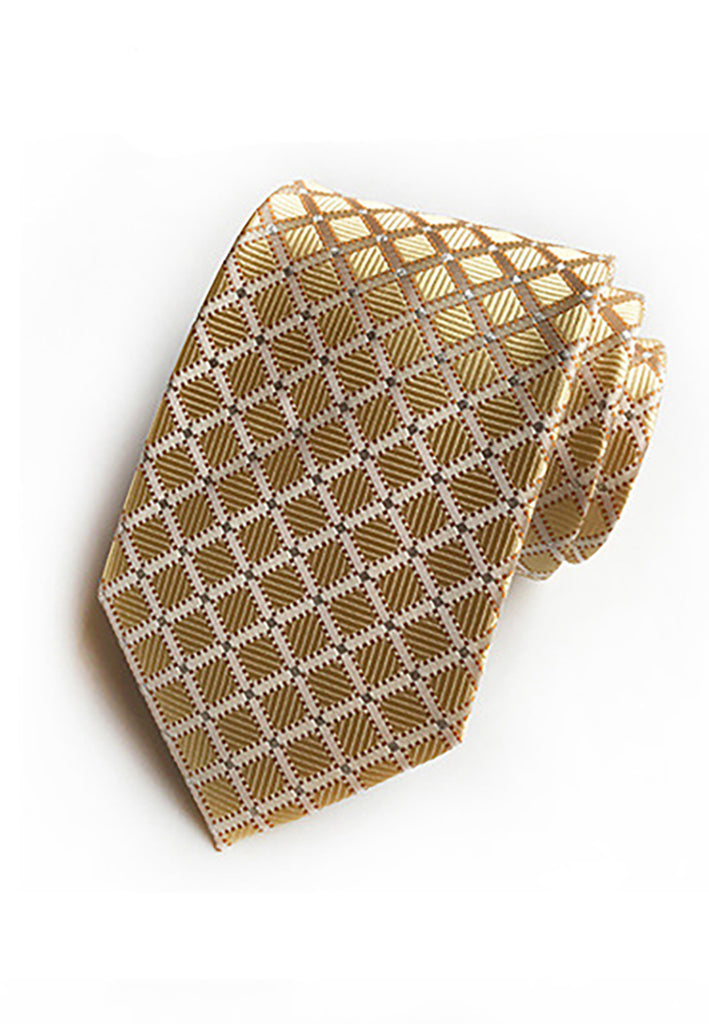 Checky Series Gold Neck Tie