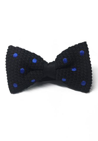 Webbed Series Blue Polka Dots Black Knitted Bow Tie