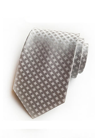 Checky Series Silver Neck Tie