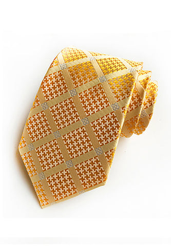 Checky Series Orange Neck Tie