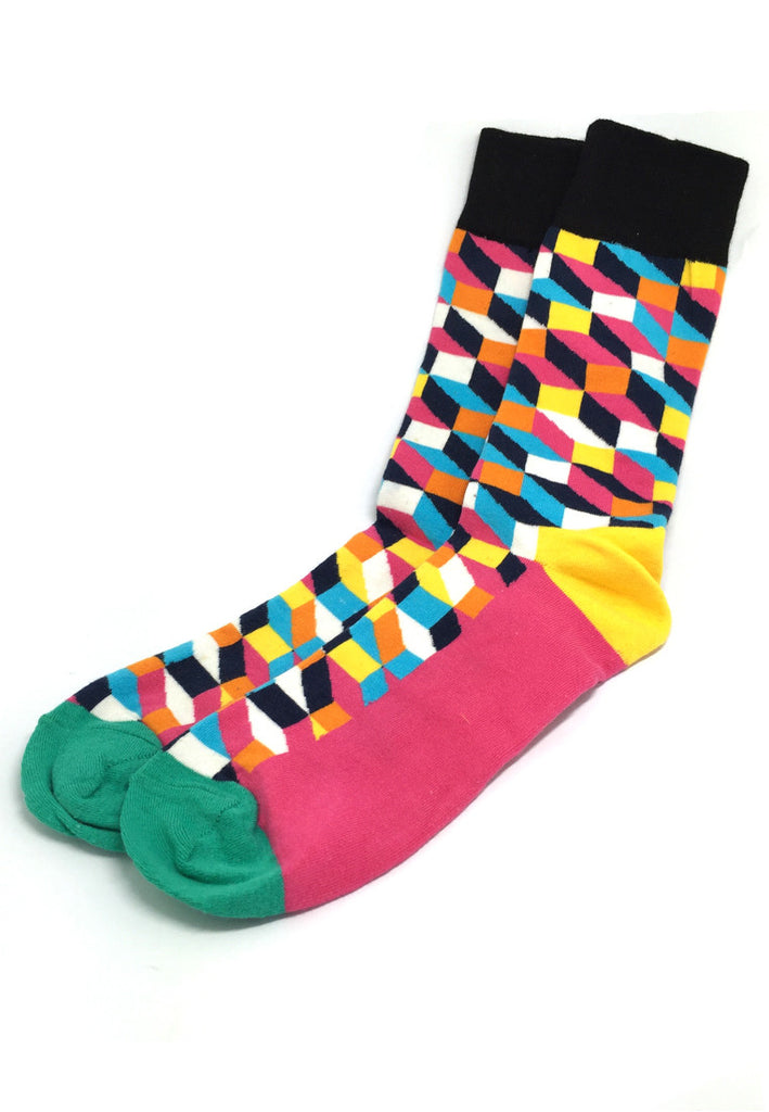Zig Zag Series Multi Colour Swirl Design Pink, Green, Yellow and Black Socks