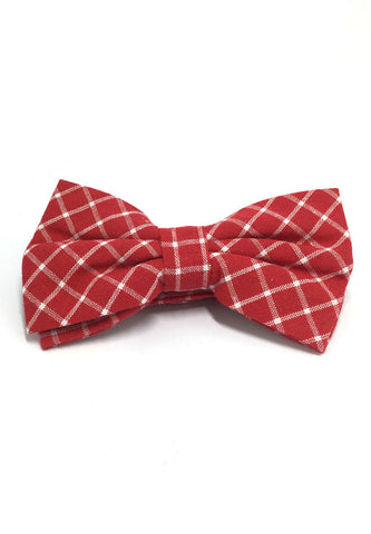 Probe Series Red and White Checked Design Cotton Pre-tied Bow Tie