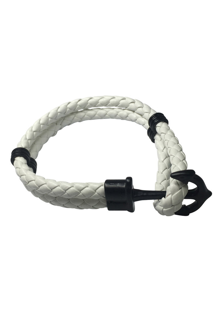 Grapple Series White PU Leather Black Anchor Bracelet