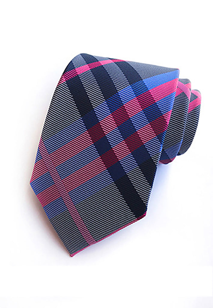 Checky Series Pink, Blue & Red Neck Tie