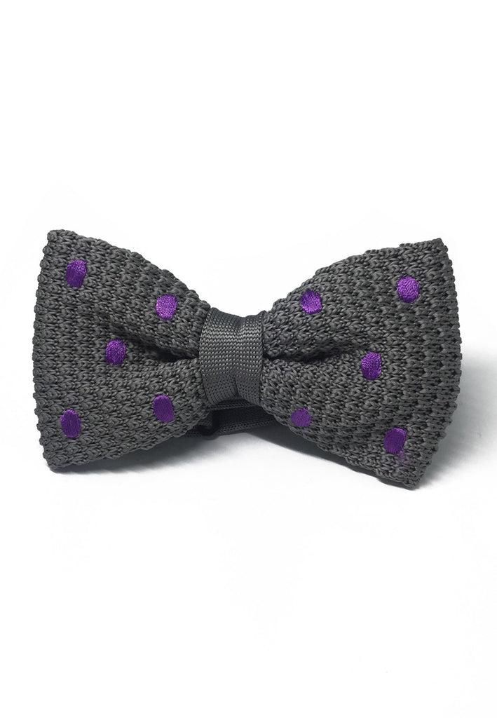 Webbed Series Purple Polka Dots Grey Knitted Bow Tie