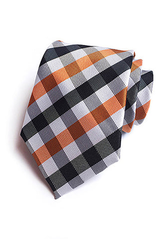 Checky Series Orange, Black & White Neck Tie