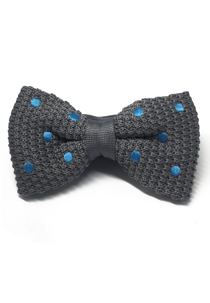 Webbed Series Baby Blue Polka Dots Grey Knitted Bow Tie