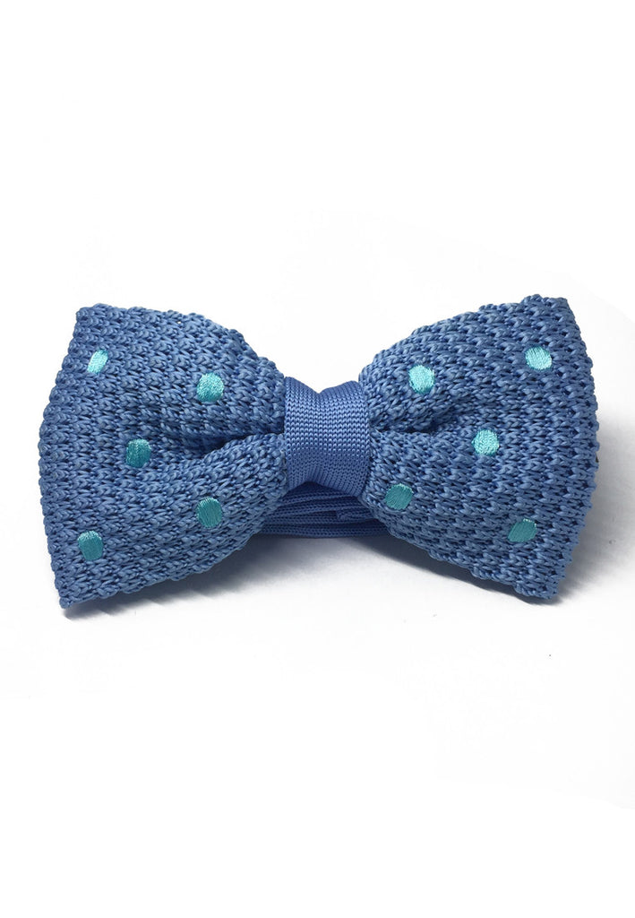 Webbed Series Baby Blue Polka Dots Sky Blue Knitted Bow Tie