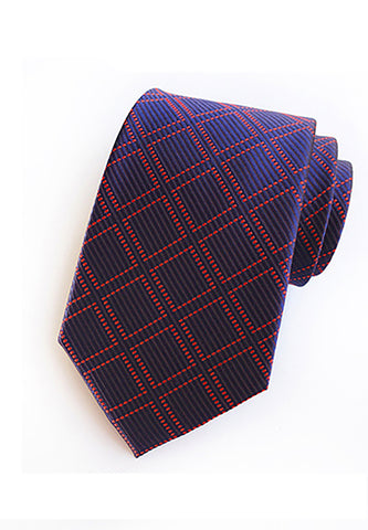 Checky Series Purple Blue & Red Neck Tie