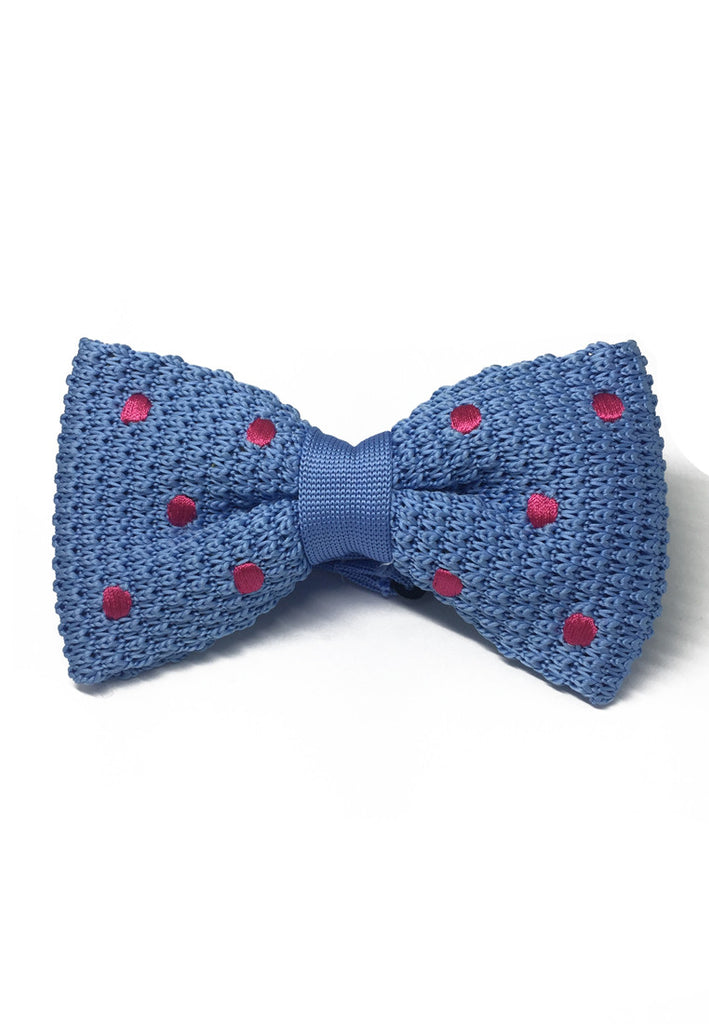 Webbed Series Bright Pink Polka Dots Sky Blue Knitted Bow Tie