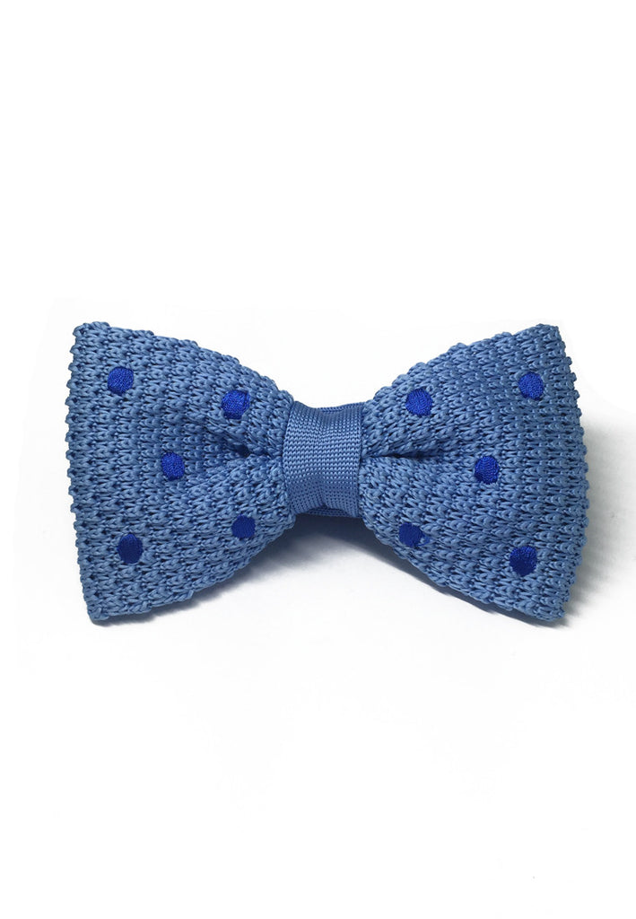 Webbed Series Blue Polka Dots Sky Blue Knitted Bow Tie