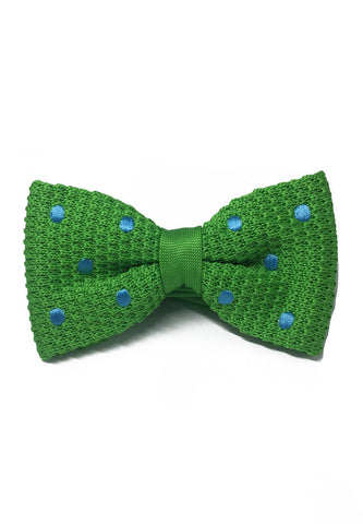 Webbed Series Baby Blue Polka Dots Green Knitted Bow Tie