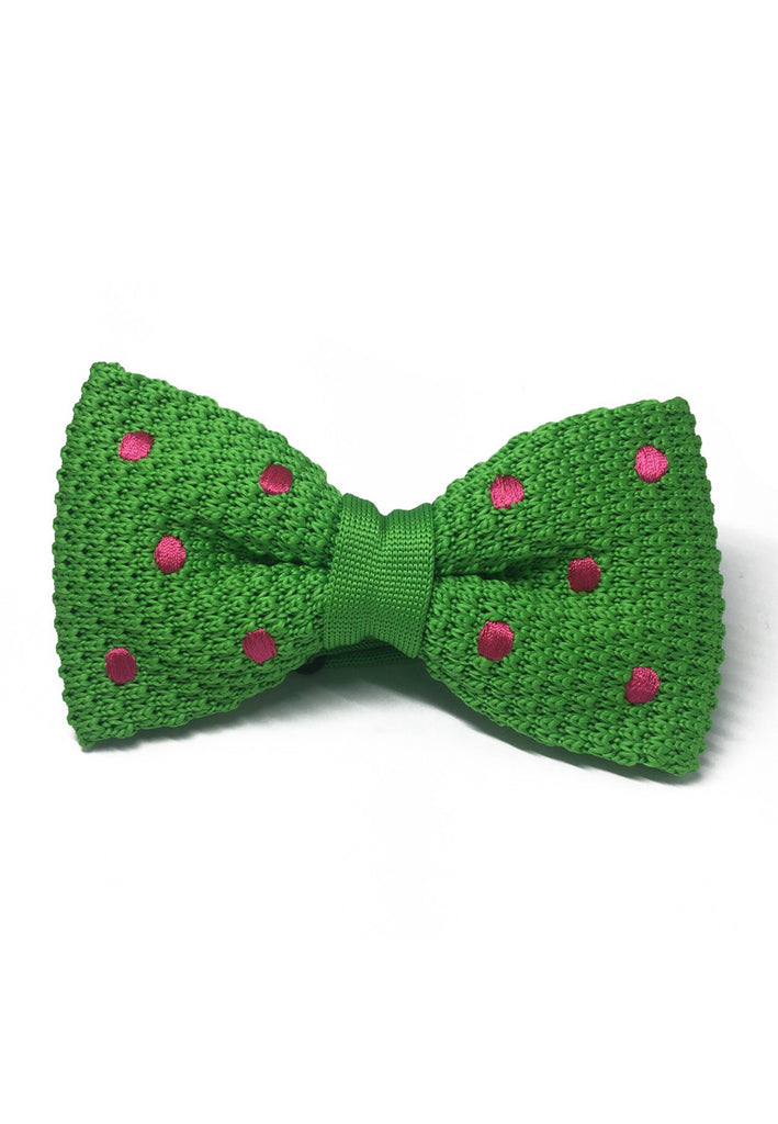 Webbed Series Bright Pink Polka Dots Green Knitted Bow Tie