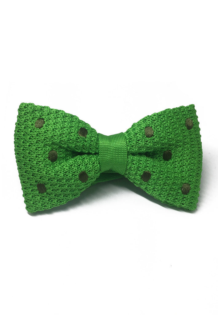 Webbed Series Army Green Polka Dots Green Knitted Bow Tie