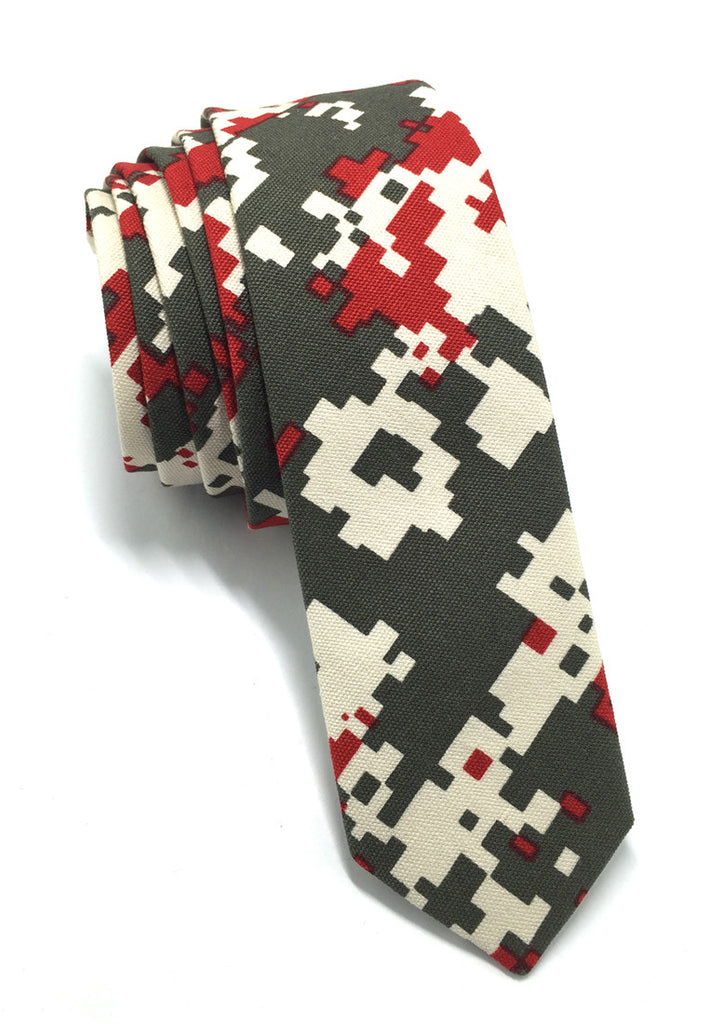 Potpurri Series Red & Grey Pixel Design Cotton Tie
