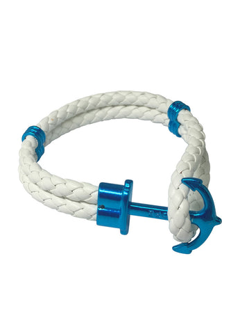 Grapple Series White PU Leather Turquoise Blue Anchor Bracelet