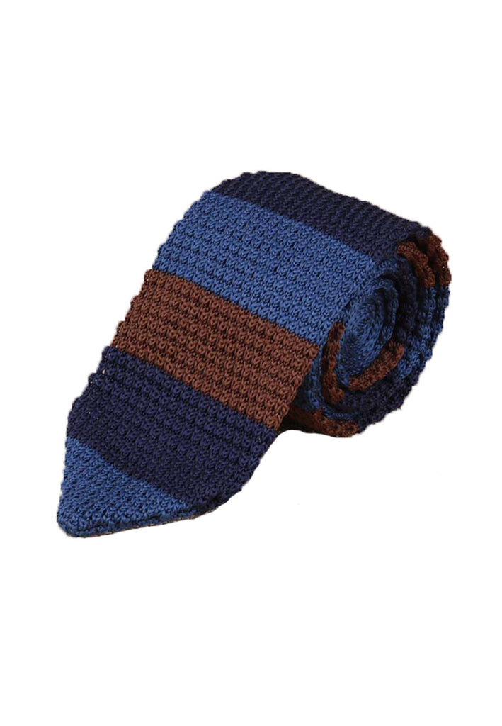 Spun Series Brown, Dark Blue & Blue Knitted Tie
