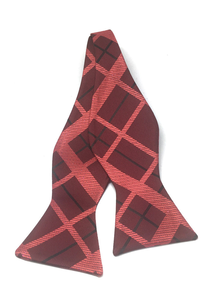 Manual Series Red Squares Design Self-tied Man Made Silk Bow Tie