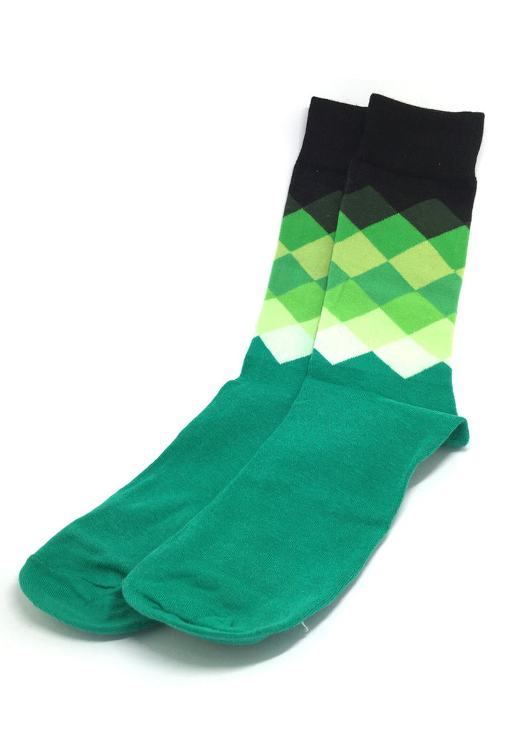 Jewel Series Multi Colour Checked Design Green, White and Black Socks