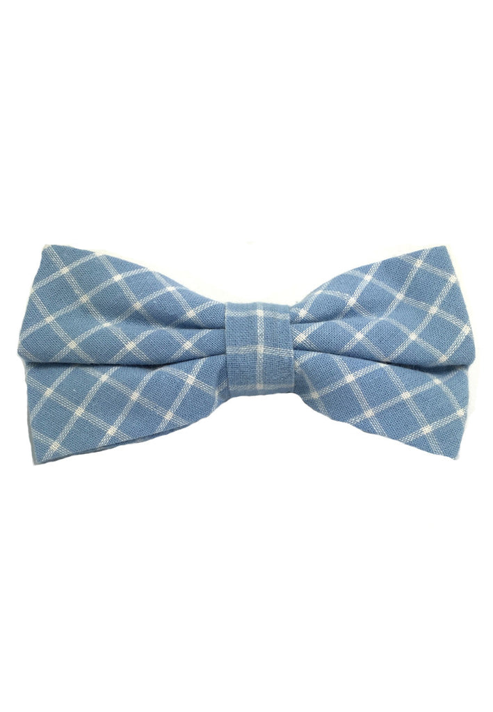 Probe Series Blue and White Checked Design Cotton Pre-tied Bow Tie