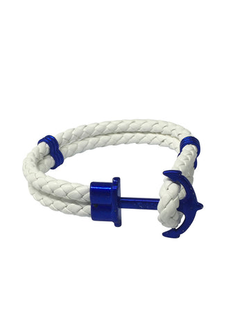 Grapple Series White PU Leather Electric Blue Anchor Bracelet