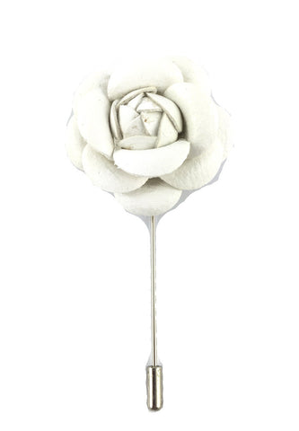 White PU Leather Camellia Flower Lapel Pin