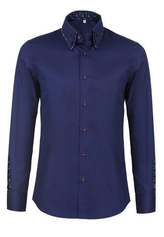 Rococo Series Plain Navy Blue Shirt with Flowery Inners