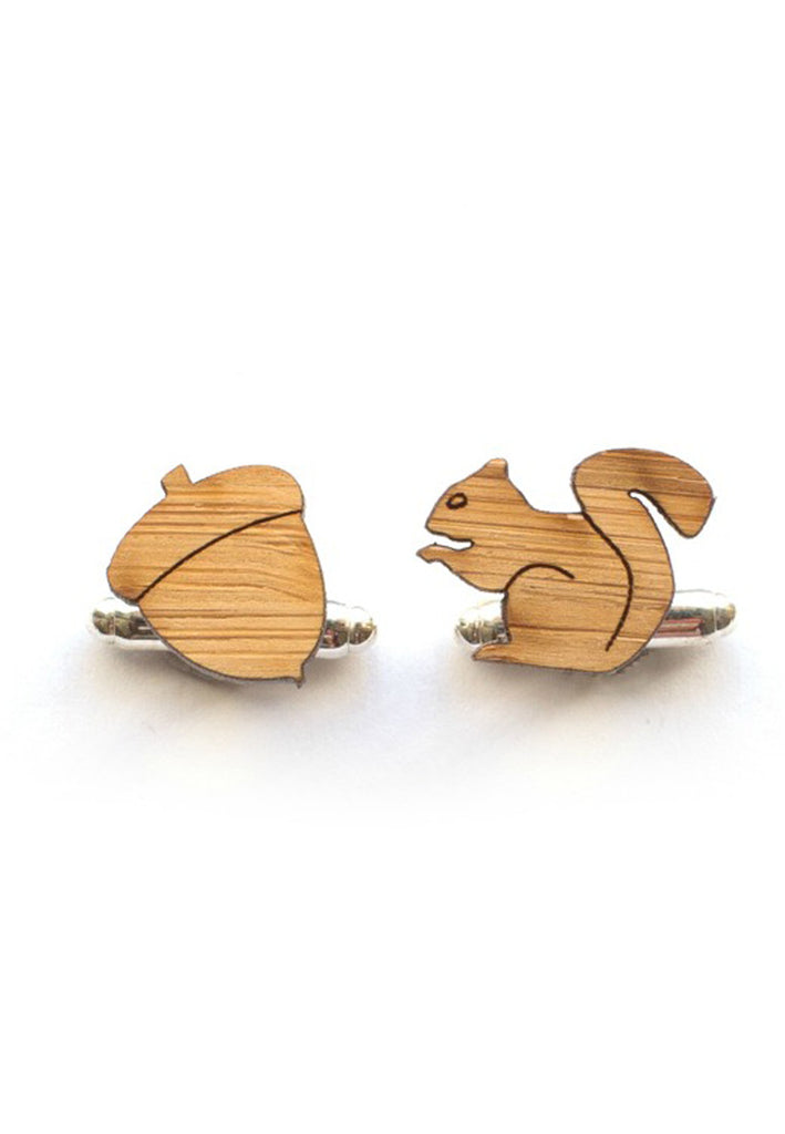 Handmade Squirrel and Acorn Cufflinks