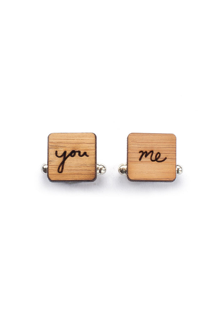 Handmade Square You and Me Cufflinks