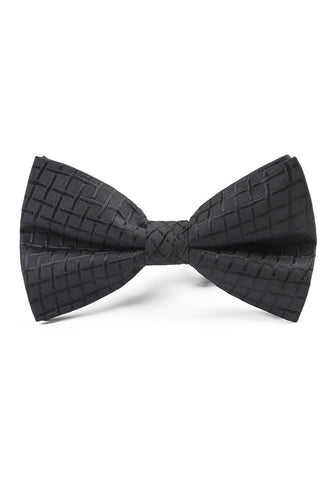 Ebony Series Polyester Black Checked Design Bow Tie