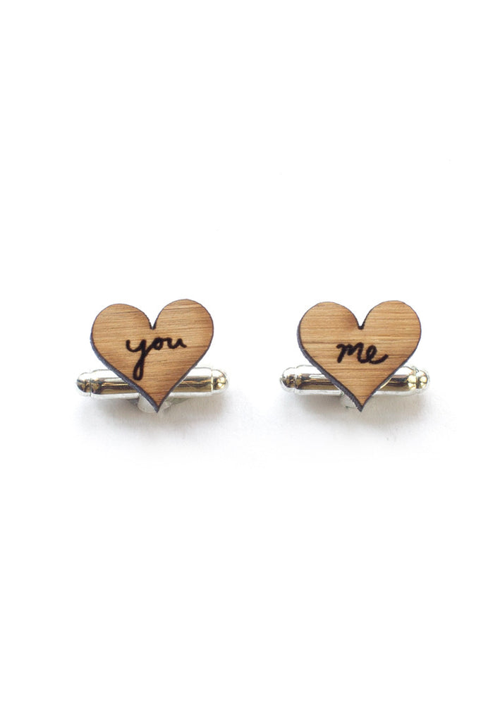 Handmade Love You and Me Cufflinks