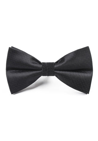 Ebony Series Polyester Black Zig Zag Design Bow Tie