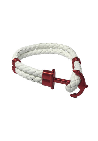 Grapple Series White PU Leather Red Anchor Bracelet